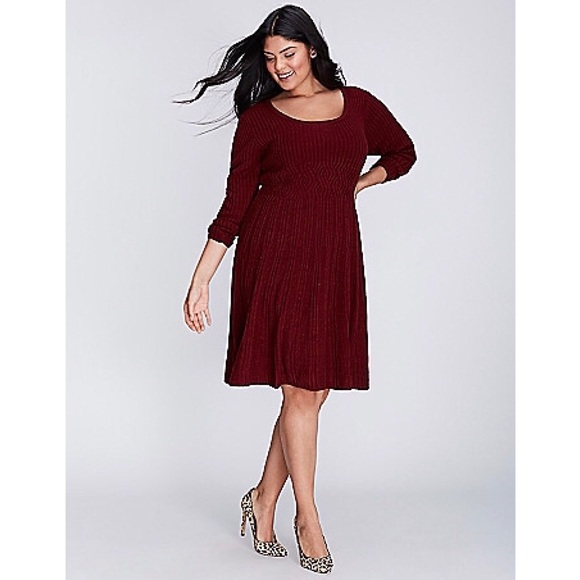 6867c0612b8 Lane Bryant Dresses   Skirts - NWOT-Lane Bryant Burgundy Sweater Dress
